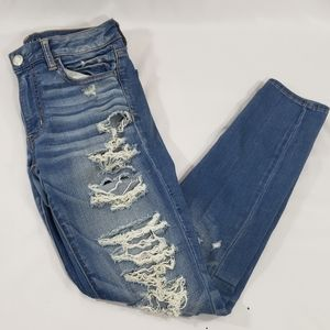 American Eagle Blue Denim Distressed Skinny Jeans